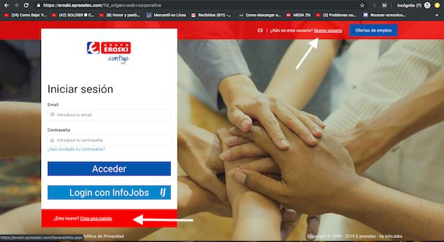 Crear nuevo usuario en eroski online 2019