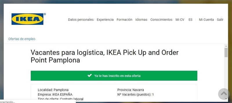 Paso final Enhorabuena registro con exito para un empleo en IKEA España