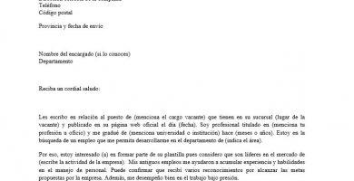 Imagen de modelo de carta de presentacion para un CV