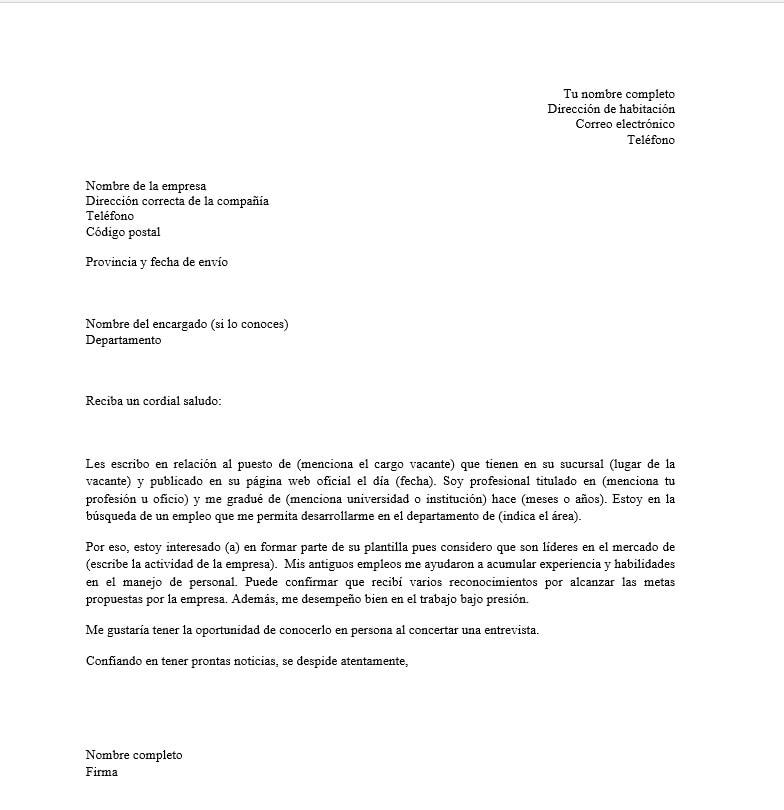 Carta De Presentacion Para Currículum Modelo Para Descargar