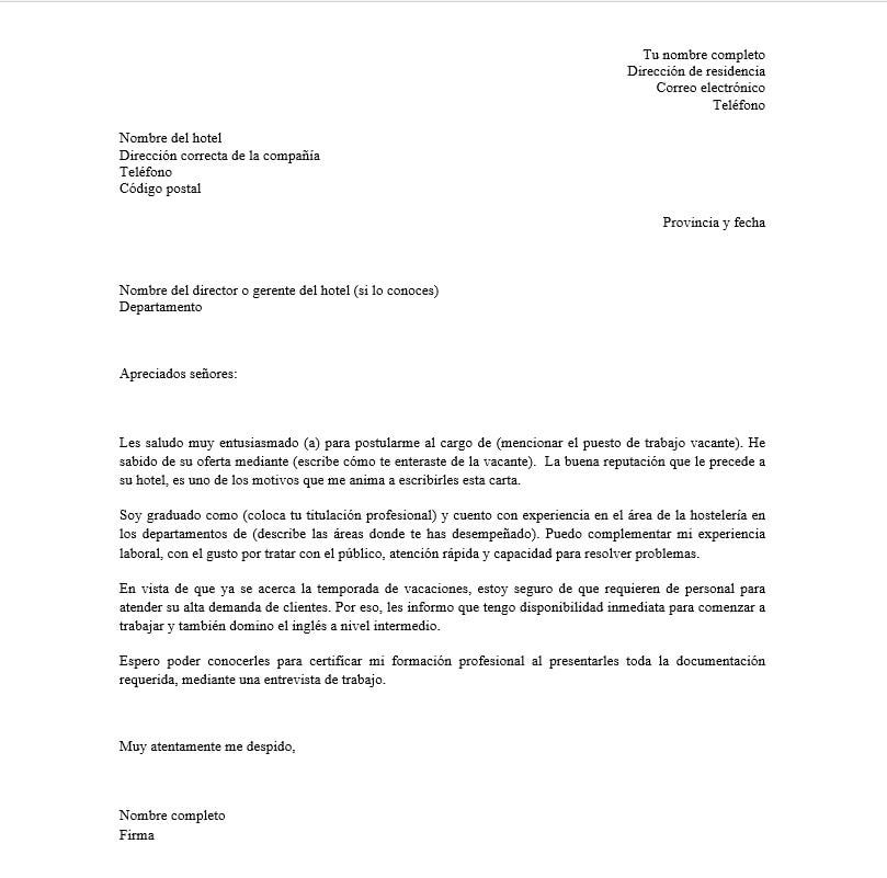 Carta de Presentación para Hoteles +Ejemplo y Modelo Descargar